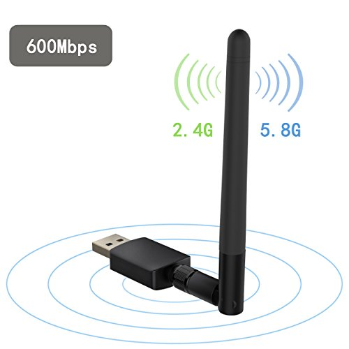 Techkey 600Mbps USB Wifi Adapter,Dual Band (2.4G/150Mbps+5G/433Mbps) Wireless Network Adapter Wifi Antenna for Desktop/PC/Laptop, Supports Windows 10/8.1/8/7/XP/Vista