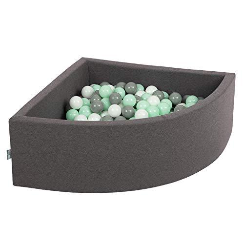 KiddyMoon piscina de 300 bolas con forma en ángulo  / bolas color gris - menta y blanc