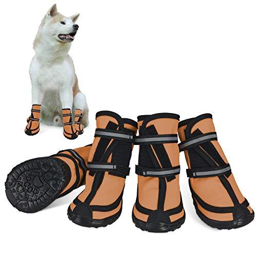 Bottes de protection pour chien Ensemble imperméable, chaussures chien antidérapantes avec boucle adhésive Sangles réfléchissantes Chaussures chiens chaudes résistantes pour les chiens Orange L