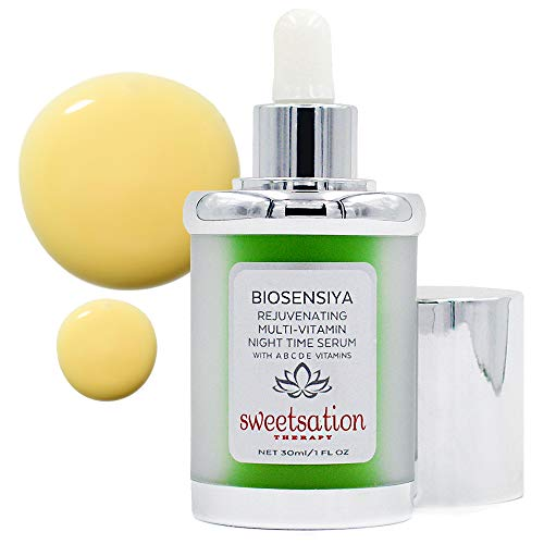 BioSensiya Rejuvenating Brightening Multi-Vitamin Night Serum, with A B C D E Vitamins. Retinol, Vitamin C, Vitamin D, Niacinamide, Hyaluronic and Ferulic Acid, Arginine, Lupine Protein. 1oz
