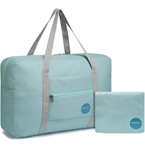 WANDF Foldable Travel Duffel Bag Super Lightweight for Luggage, Sports Gear or Gym Duffle, Water Resistant Nylon (Mint Green)
