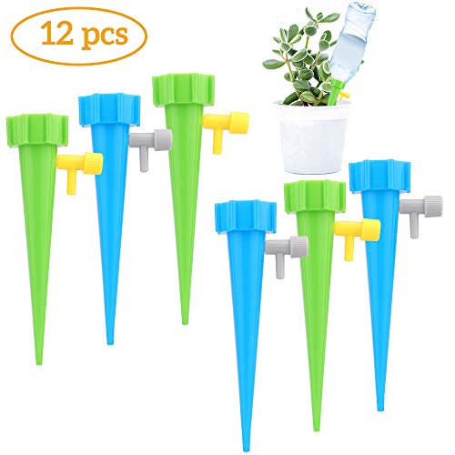 Sporgo Automatisch Bewässerung Set, 12 Stück Pflanzen Bewässerungssystem Instellbar Einfaches mit Steuerventilschalter,Automatische Gartenpflanzen Blumen Bewässerung für Topfpflanzen Zimmerpflanze