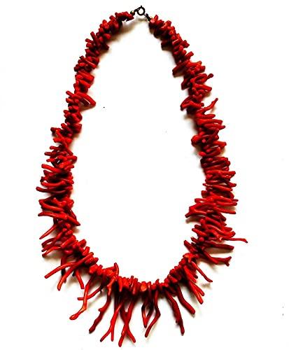 Collana frangia di corallo rosso naturale del Mar Mediterraneo