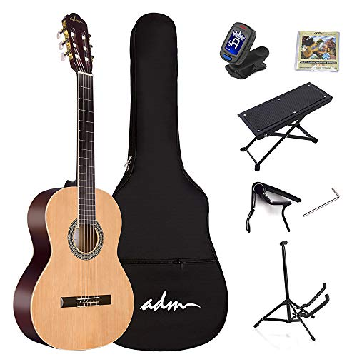 ADM Full Size Classical Nylon Strings Acoustic Guitar with Gig Bag, E-tuner, Footstool, Kids Student Beginner Kits, Nature