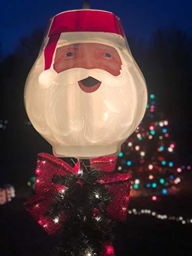 TisYourSeason Santa Head Christmas Outdoor Light Lightpost/Lamppost Cover