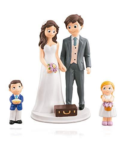 Godie - Figura Novios para pastel, tarta de Boda - Poliresina, Mod. Familia con hijos