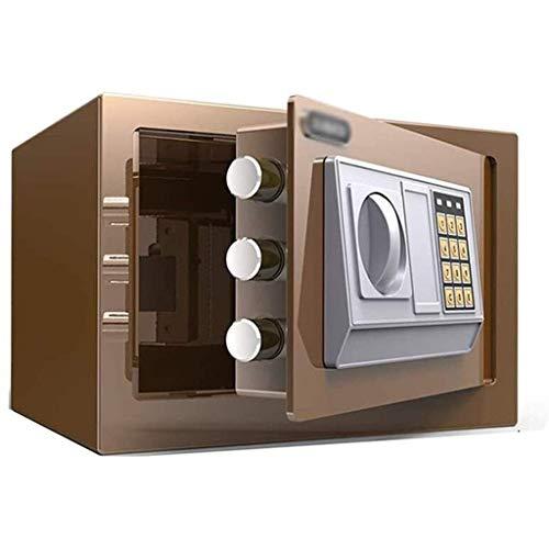 RTYUI Caja fuerte para guardar papel A4, caja fuerte pequeña en la pared, de acero, de 20 x 31 x 20 cm, caja de seguridad electrónica grande (color: marrón)