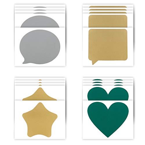 Lmbqye Scratch Off Labels, 20 STKS Scratch Off Stickers Glitter Zelfklevende Kraskaart Stickers, Hart, Zilver, Goud…