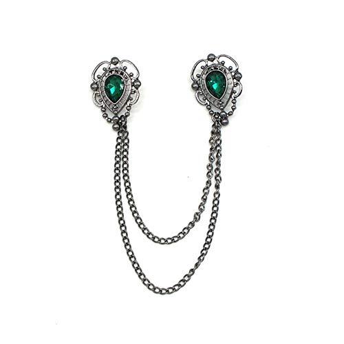 ZHAOFANGSTORE Broche de collar con piedras preciosas para hombre, broche para camisa y cuello en ángulo, broche de clip para ropa (color: B)
