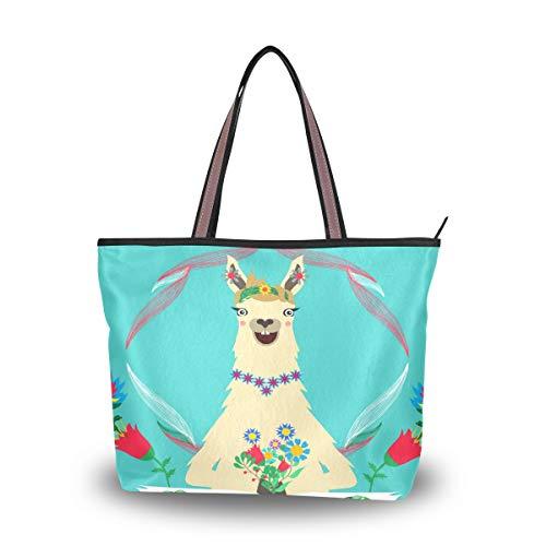 Emoya Damen Handtasche, lustiges lächelndes Llama mit Blumen, Federgriff, Mehrfarbig - multi - Größe: Medium
