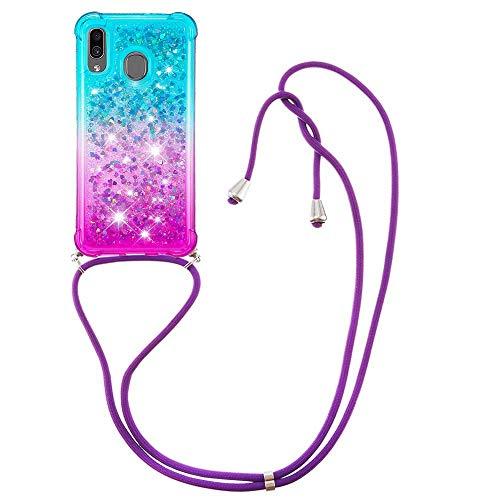 Miagon Galaxy A20e Glitzer Flüssig Halskette Hülle,Flüssigkeit Treibsand Kordel zum Umhängen Necklace Crossbody Cover mit Band Schnur Case für Samsung Galaxy A20e