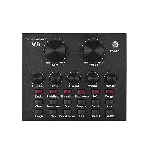 External Audio Mixing Placa de Som Interface de Áudio USB com Múltiplos Efeitos Sonoros Bateria Recarregável Integrada para Cantar Gritando Live Streaming Conversando Gravação de Música