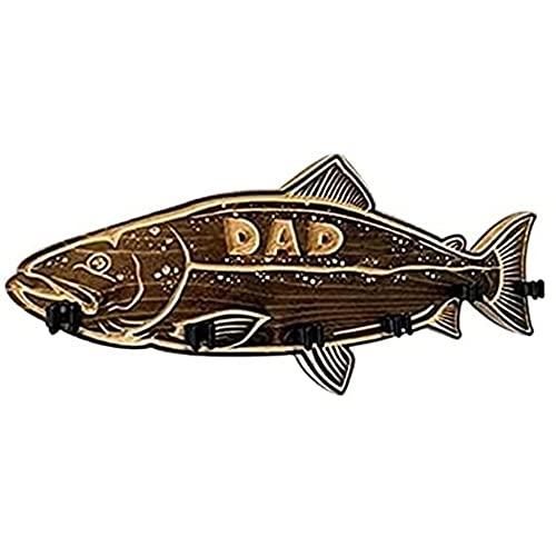 Soporte de Madera para caña de Pescar para lubina, Soporte para caña de Pescar montado en la Pared, Adecuado como Regalo para papá, Estante para Pared de Puerta de Garaje (Sea Bass,A)