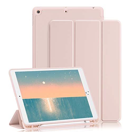 GHINL iPad 8th/7th Generation case (2020/2019) iPad 10.2-Inch Case with Pencil Holder [Sleep/Wake] Slim Soft TPU Back Smart Magnetic Stand Protective Cover Cases (Light Pink)