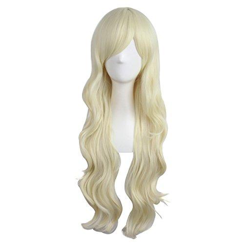 MapofBeauty 28 Inch 70 cm Charming Women Long Curly Full Hair Wig (Light Blonde)
