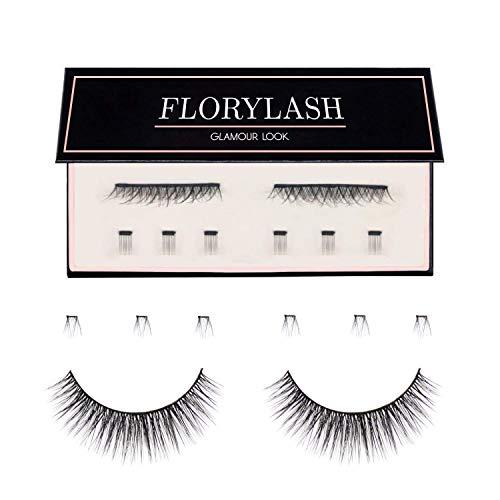 FLORYLASH® | Glamour Look - Magnetische Wimpern 3 Magnete Natürlich Magnetic Fake Lashes ohne Eyeliner 3D Volumen Set Wiederverwendbar