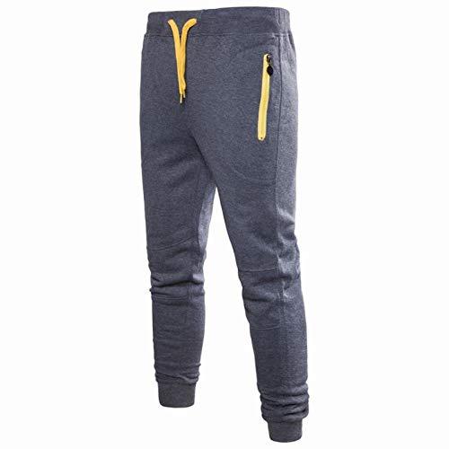 Huntrly Pantalones de chándal para Hombre Pantalones Deportivos Deportivos con Cordones, Cintura elástica, Pantalones Ajustados con Bolsillos con Cremallera 2XL