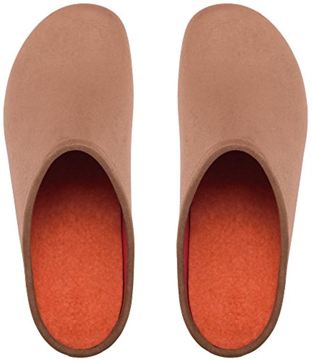 値私土砂降りプレミアムルームシューズ「フットローブ ピエモンテ / footrobe Piemonte」プレーン(マロングラッセ)+フェルトインソール(オレンジ)セット女性用 24.5cm