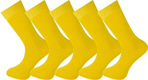 Calcetines amarillos lisos (5 pares)