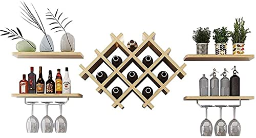 N/Z Home Equipment Wine Rack Wine Racks Wall Mounted with Glass Holder Wooden | Wall Shelf Storage Rack | Wine Bottle Holder for Kitchen | Suspended Wine Glass Holder