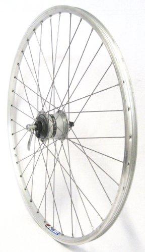 28 Zoll Fahrrad Laufrad Vorderrad Hohlkammerfelge Cut 19 Shimano Nabendynamo DHC30003 inkl. Schnellspanner Silber für V-Brakes/Felgenbremse