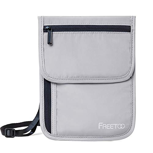 FREETOO パスポートケース RFIDブロッキング素材 首下げ セキュリティポーチ 軽量 肌触り良い パスポートバッグ 海外旅行/出張/貴重品保管などに適応 全5色 (グレー‐ふた)