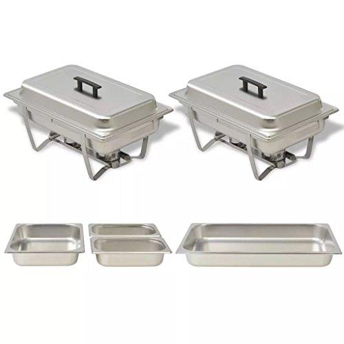 Festnight Calentador de Comida para Buffet 2 Piezas - Material de Acero,...