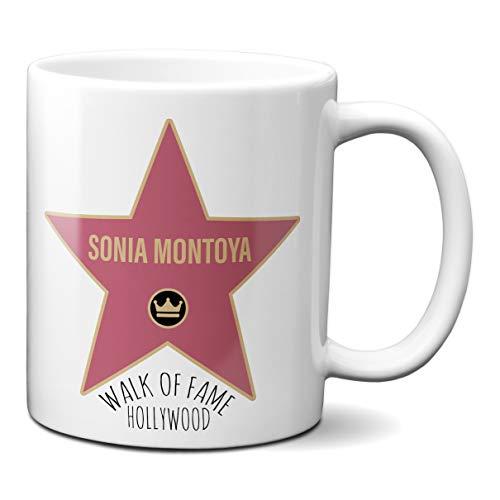 Taza Estrella Paseo De La Fama Hollywood - Personalizada con tu Nombre - Taza Personalizable Hall of Fame Desayuno Café Ceramica 330 ML