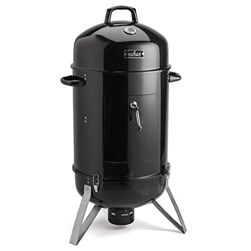 11. HUMOS Outdoor Vertical Charcoal Smoker 3 in 1: Oven + Smoker + Grill (18 inch)