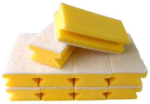 Sonty 10 Stück Putzschwamm kratzfrei, waschbar, Bad 15x7x4cm weiß (gelb)
