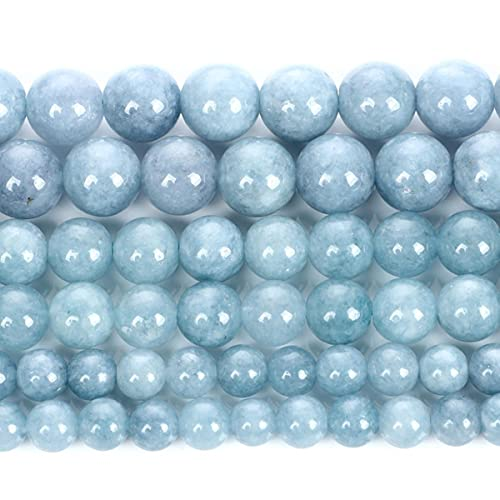 Aguamarinas Cuentas de piedra natural Cuentas redondas sueltas para hacer joyas DIY Pulseras Collar Pendientes Accesorios 6/8/10 MM-H9281,8mm 44-46pcs