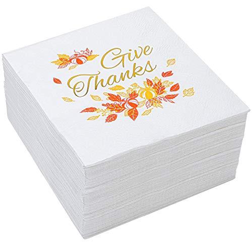 Paquete de 60 servilletas de papel desechables de papel de acción de gracias con hojas de otoño, diseño de calabazas, decoración para fiestas, 12,7 x 12,7 cm
