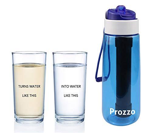 AVENTURE ET CULTURE Prozzo, Botella de Filtro de Agua con Filtro de Paja Incorporado, Elimina bacterias y protozoos. Ideal para Senderismo, Camping, Viajes, Deportes al Aire Libre (Azul)