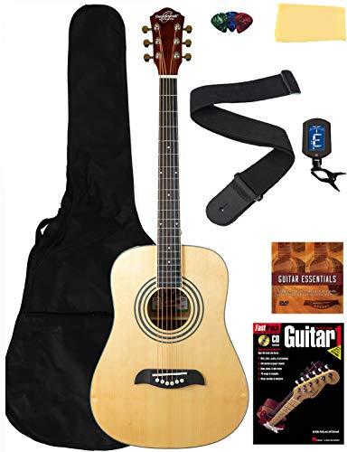 Oscar Schmidt OG5 3/4-Size Kids Acoustic Guitar Learn-to-Play Bundle w/Gig Bag, Tuner, Strap, Picks, Instructional Book, DVD, and Austin Bazaar Polishing Cloth - Natural