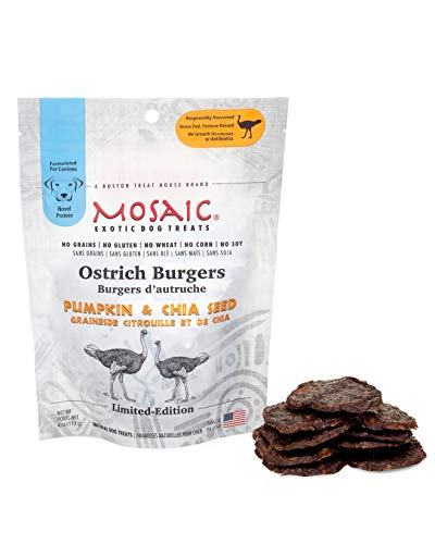 Mosaic Ostrich Burgers Exotic Dog Treats - Pumpkin...