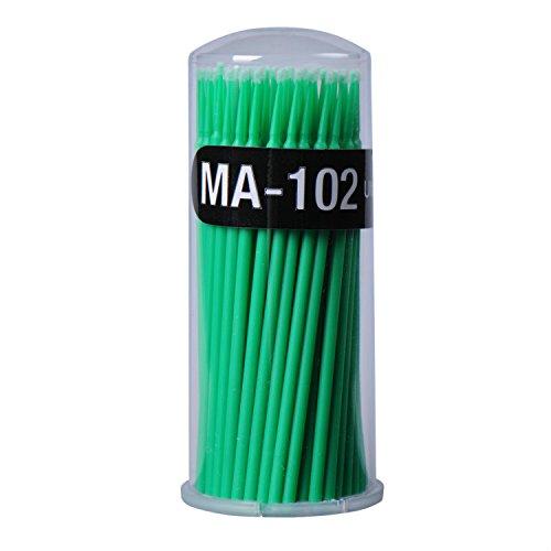 SmileyEU 100 PCS Cils Extension écouvillon jetables Micro Pinceaux applicateurs Mascara Dissolvant Maquillage jetable écouvillon Vert