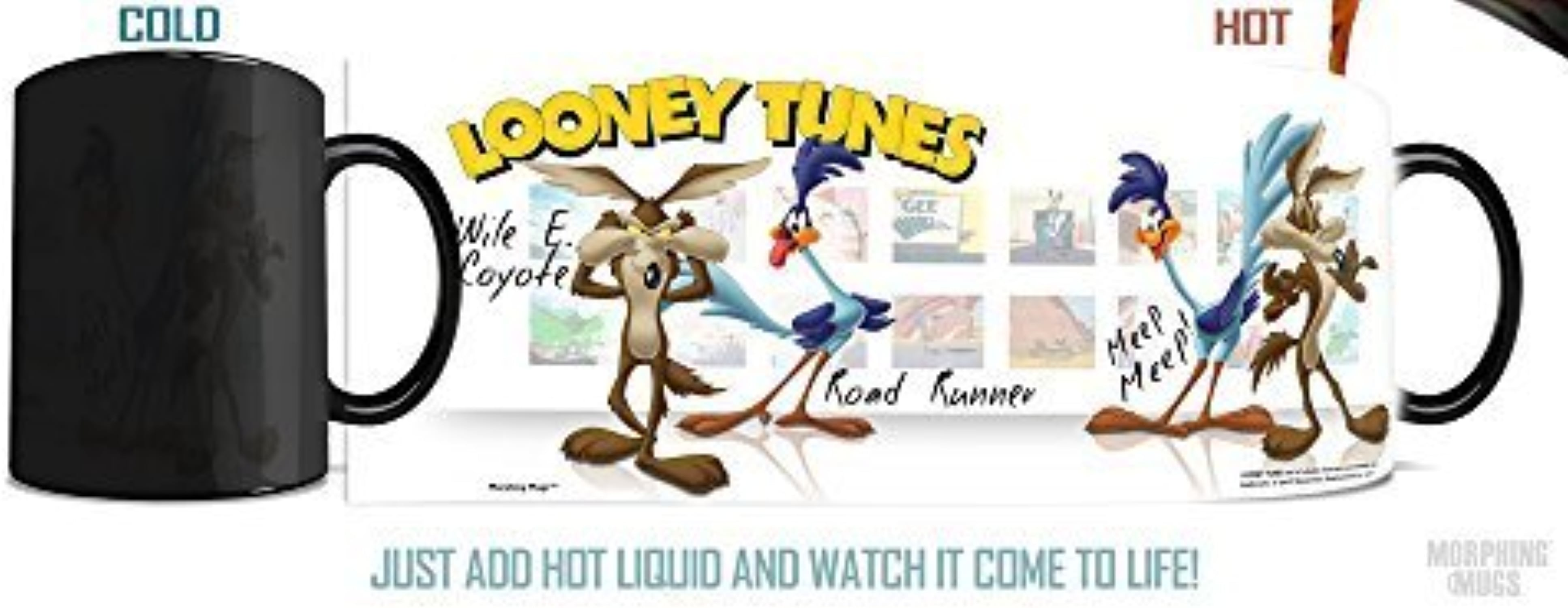 Morphing Mug Looney Tunes (Wile E Coyote and Road courirner) Ceramic Mug, noir by Morphing Mug