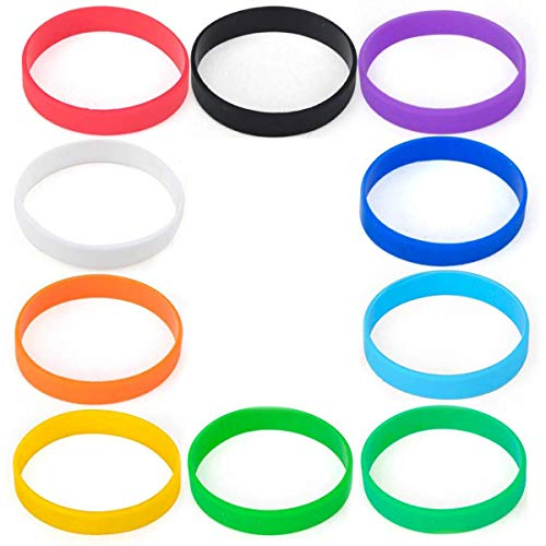 ExeQianming 10Pcs Silicone Wristband Men and Women Sports Party Decoration Universal Bracelet, Multicolor