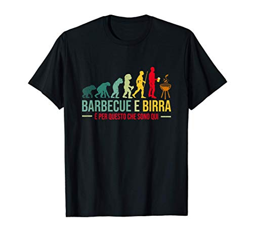 Griglia Barbecue E Birra Divertente BBQ Regalo Evoluzione Maglietta