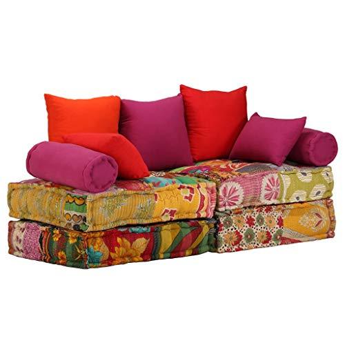 Festnight 2-Sitzer Modulares Schlafsofa Stoff Schlafcouch Wohnzimmersofa mit 5 Kissen Schlafzimmersofa Schlaffunktion Patchwork Design