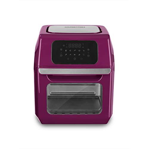 GOURMETmaxx Digitale XXL Heißluftfritteuse 12 Liter   Mit 10 Programmen, Zubehör ist spülmaschinengeeignet, größeres Sichtfenster   Edelstahl Design [1.800 Watt/Beere]