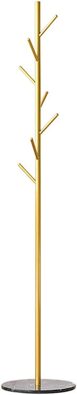 KTOL Modern Garderobe Garderobenstnder, Metall Marmor Kleiderstnder Kleidung Storage Ablage Boden Mit 6 Haken Jackenstnder-Golden Schwarzer Marmor B