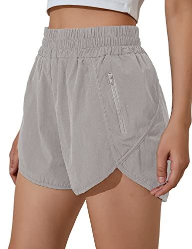 Blooming Jelly Womens High Waisted Running Shorts Athletic Workout Shorts Quick Dry Pants with Zipper Pocket (Medium,Grey)