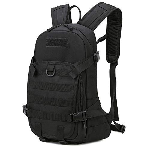 RUINUO Tactical Backpack Wasserdichter Nylon-Militärrucksack Molle Wanderrucksack für Camping Trekking Outdoor Cycling, Schwarz