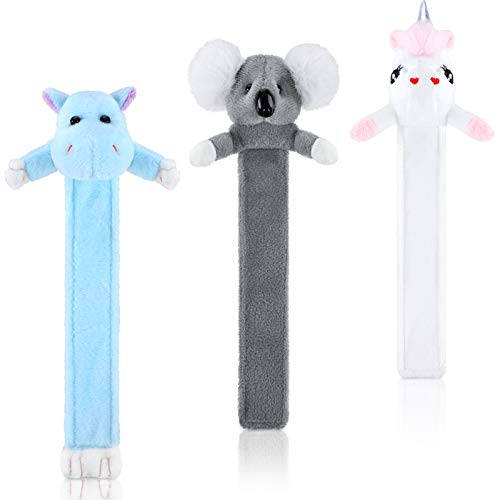 3 Pieces Plush 3D Animal Cartoon Bookmark Cute Animal Pals Bookmarks Reading Friends Presents for Kids Students Book Lovers (Hippo, Unicorn, Koala)