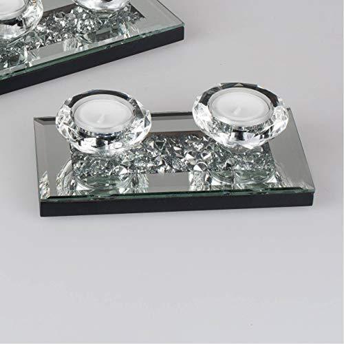 Edler Teelichthalter auf Spiegeltablett mit Strass f. 2 Teelichter Kerzenständer