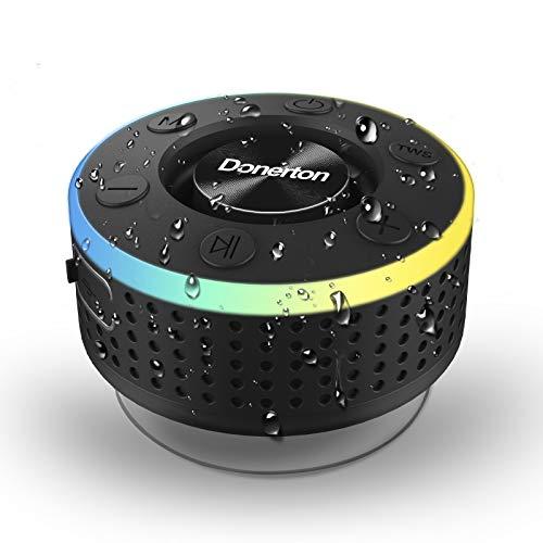 Bluetooth Lautsprecher, Bluetooth Box Tragbarer Musikbox, IP7 Wasserschutz Bluetooth Speaker mit Bass-Treibern, Kabelloser Lautsprecher mit LED Licht, Freisprechfunktion für Handy, FM Radio(Schwarz)