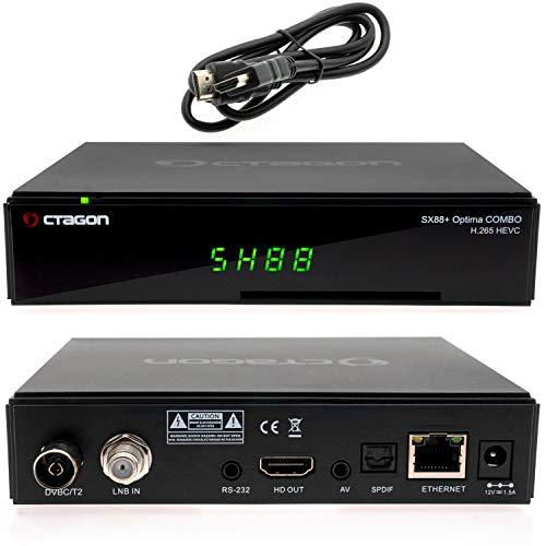 Octagon SX88+ Optima Combo H265 Multistream - Receptor de satélite HD con sintonizador DVB-C/T2