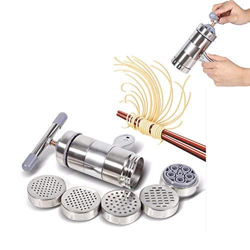 Fabricante De Fideos, 6 Pcs MáQuina para Hacer Pasta, MáQuina para Hacer Fideos Manual, 1 X Fabricante + 5 X Molde, Acero Inoxidable, PortáTil
