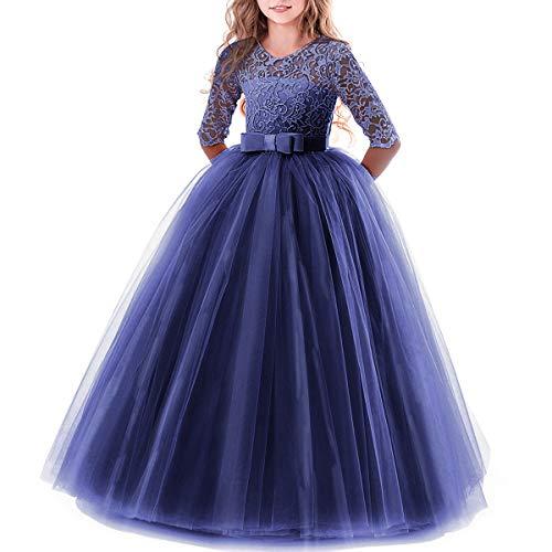 Vestido de niña de Flores para la Boda Princesa Largo Manga Vestidos...